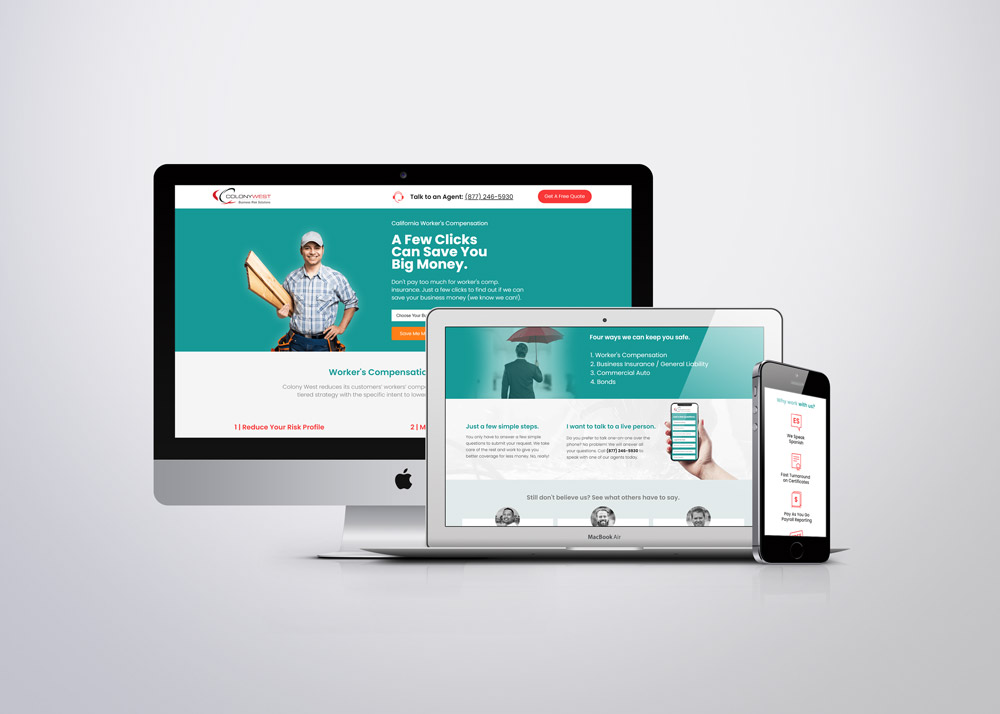 responsive landing page for Colony West Insurance